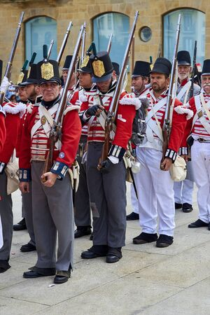 San Sebastian, Spain - August 31, 2017. Soldiers stand in formation during Tamborrada, the drum parade to commemorate the day that Anglo-Portuguese troops invaded the city. Basque Country, Guipuzcoa.