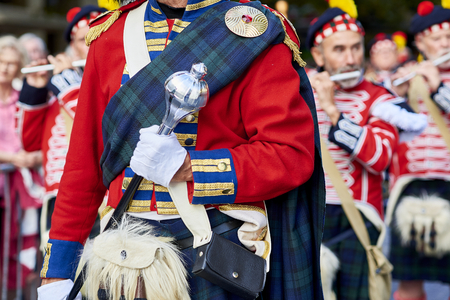 San Sebastian, Spain - August 31, 2017. Scottish troops playing flute in Tamborrada, the drum parade to commemorate the day that allied Anglo-Portuguese troops invaded the city. Basque Country, Guipuzcoa. Spain.
