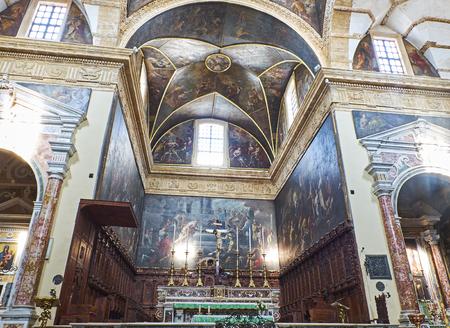 Gallipoli, Italy - August 17, 2017. Inside of the Basilica concattedrale di Santa Agata cathedral of Gallipoli. Puglia, Italy.