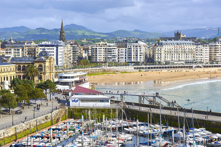 San Sebastian, Spain - May 10, 2018. Aerial view of the port of San Sebastian with the Concha Beach in background at sunny day. Donostia, Basque Country, Guipuzcoa. Editorial