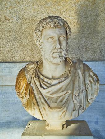 Sculpture of Emperor Antoninus Pius in the porch of the Stoa of Attalos building at the Ancient Agora of Athens. Attica region, Greece.