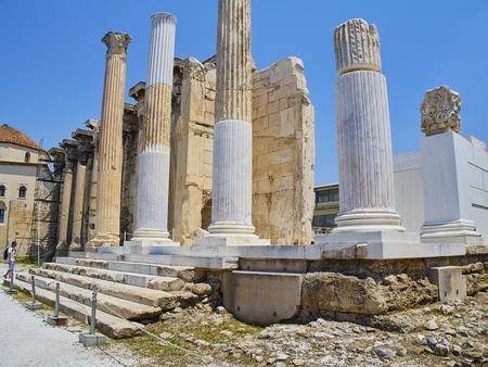 Corinthian columned porch (Propylon) at the west facade of Hadrians Library in Athens, Attica region, Greece.