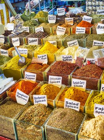 A Turkish spices stall in the Bodrum market, Kapali Pazar Yeri, at downtown. Mugla Province, Turkey.