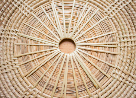 basketry: Weave pattern rattan background.Woven rattan by handmade Stock Photo