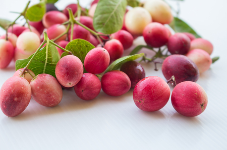 Carunda fruit on a white background, fruit helps to relieve sore throat. And colorful beautiful. Stock Photo