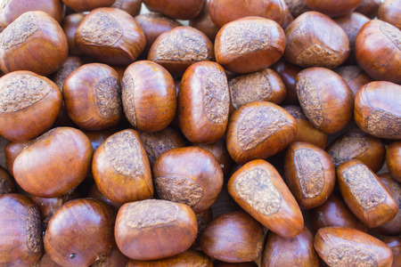 Background of roasted chestnuts