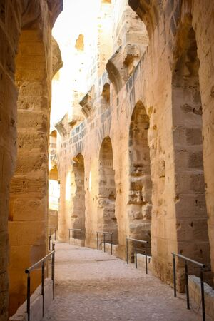 Amphitheater hallway  Hallway of roman biggest amphitheater in africa in El Djam, Tunisia Stock Photo - 16102754