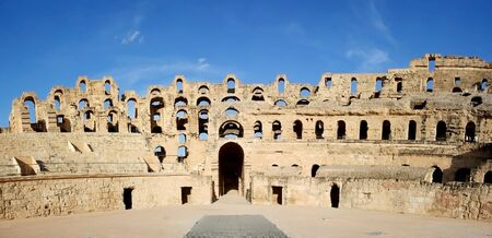 El Djem Amphitheatre gate Roman biggest amphitheater in africa in El Djam, Tunisia Stock Photo - 16113529