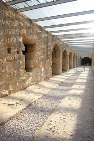 corridors: El Djem Amphitheatre, underground corridors   Underground corridors of roman biggest amphitheater in africa in El Djam, Tunisia