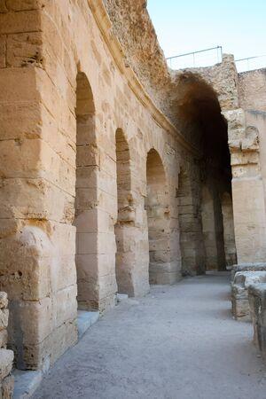 El Djem, disimpegno Corridoio Anfiteatro e le rovine del pi� grande anfiteatro romano in Africa a El Djam, Tunisia