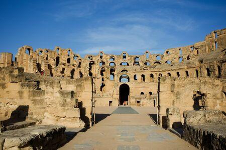 El Djem, Amphitheatre, Roman arena  The entrance to the center of roman biggest amphitheater in africa in El Djam, Tunisia Editorial