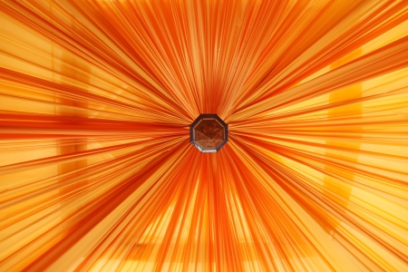 Tunisia tilt   Orange awning with a traditional Tunisian chandelier Stock Photo