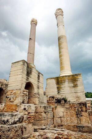 Antonine Baths chimneys  Roman baths chimneys from a Antonine Baths ruin in Carthage, Tunisia
