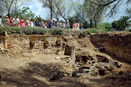 Antonine baths ruins  Tourists at sightseeing of Phoenician Graves near roman Antonine baths in Carthage, Tunis, Tunisia