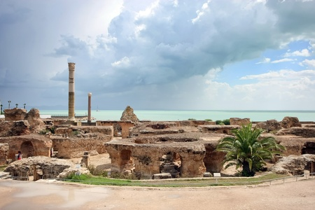Antonine Baths, Carthage  Tunisia  Ancient Carthage  General view of Antonine Baths - fragment of ruined caldarium ,the hottest room, and steamroom Stock Photo
