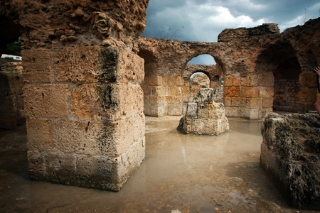 passageways: Carthage Antonine Baths   Tunisia  Ancient Carthage  General view of Antonine Baths - ruins under water after torrential rains Stock Photo