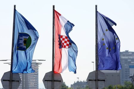 Ilustratione of European Union and Croatian flag  Croatia state on 1 of July 2013 is becoming a full member of the European Union