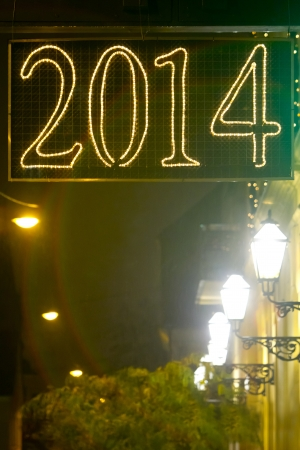 lighted: Lighted sign of 2014 year on the streets of Zagreb, Croatia