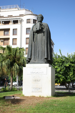 founding fathers: Tunis,Tunisia - September 14th, 2012   Statue of Ibn Khaldoun in front of the cathedral on Independence Square in Tunis,Tunisia  Ibn Khaldoun was an arab muslim historian and historiographer, regarded to be among the founding fathers of modern historiogra