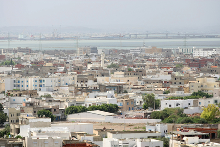View on Carthage and La Goulette port with ships as seen from Byrsa Hill, Carthage, Tunis, Tunisia,