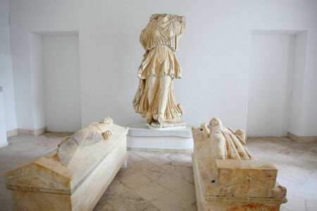 Sculptures and sarcophages of the Priest and Priestess at the Museum of Carthage in Tunis, Tunisia