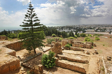 Punic ruins of Byrsa in the ancient city of Carthage in Tunis,Tunisia