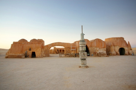A rocket model and buildings in Ong Jemel, Tunisia  Ong Jemel is a place near Tozeur, where the movies Star wars and the English Patient were filmed