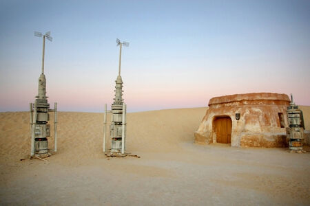Rocket models in Ong Jemel, Tunisia  Ong Jemel is a place near Tozeur, where the movies Star wars and the English Patient were filmed  Stock Photo