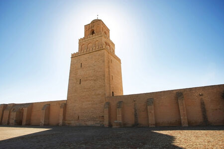 kairouan: The Minaret of The Great Mosque of Kairouan, also known as the Mosque of Uqba, one of the most important mosques in Tunisia