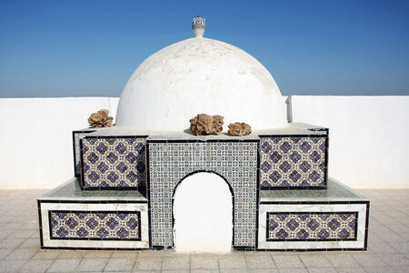kairouan: A detail of architecture on the top of a building in Kairouan ,Tunisia
