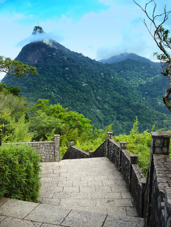 A view of Christ the Redeemer from the Mirante Dona Marta peak in Rio de Janeiro, Brazil