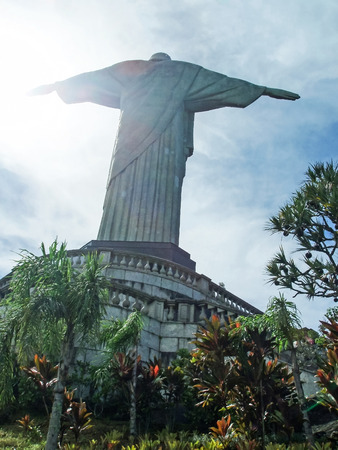 Christ the Redeemer, a statue of Jesus Christ from behind in Rio de Janeiro, Brazil  Editorial
