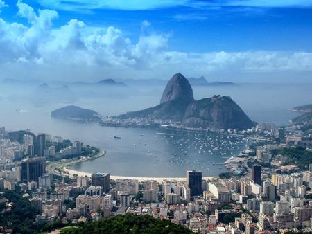marta: A panoramic view of cityscape from the Mirante Dona Marta peak in Rio de Janeiro, Brazil