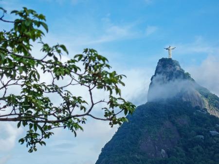 marta: A view of Christ the Redeemer from the Mirante Dona Marta peak in Rio de Janeiro, Brazil