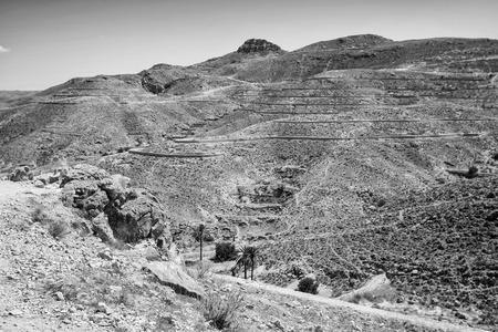 Rocky Sahara desert in Tunisia  photo