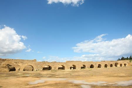 Roman agueduct arches near Carthage in Tunisia