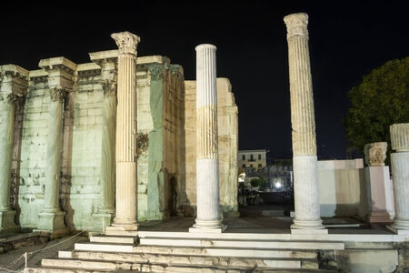 hadrian: Columns of the Hadrian library in the acropolis in Athens, Greece.