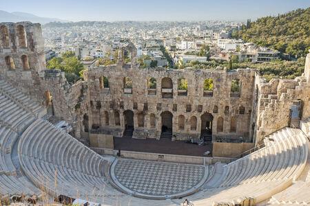 L'Odeon di Erode Attico, una struttura teatro di pietra nella Acropoli di Atene, a Atene, Grecia.