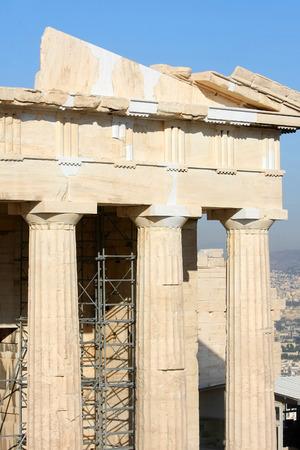 I lavori di ricostruzione del tempio di Atena a l'Acropoli di Atene ad Atene, in Grecia.