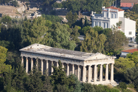peripteral: The Temple of Hephaestus on the top of Agoraios Kolonos hill in the Agora of Athens, Greece.