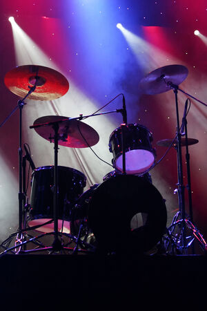 A set of drums on stage before the show. Stock Photo