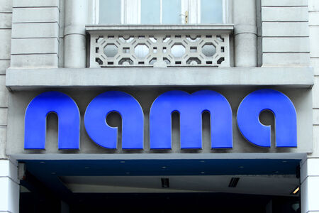former yugoslavia: ZAGREB, CROATIA - FEBRUARY 24 : Logo of NAMA on the building store in Ilica street in city centre on February 24th, 2014 in Zagreb, Croatia. NAMA used to be the biggest department store chain in former Yugoslavia, and later in Croatia and Slovenia.