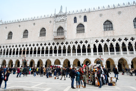 doge: VENICE, ITALY -  FEBRUARY 15 : A view of tourists sightseeing in front of the Doge