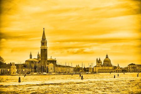 Una visione della Chiesa di San Giorgio Maggiore, sull'isola di San Giorgio Maggiore a Venezia, Italia.