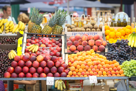 displayed: ROVINJ CROATIA  JULY 26 : A view of fresh fruit displayed on a stand with the price in kuna on the market on July 26th 2009 in Rovinj Croatia. Editorial