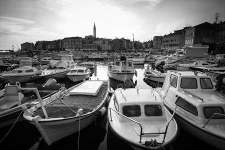 A view of the boats moored in the marina and the town with the Saint Euphemia bell tower at sunset in Rovinj Croatia. photo