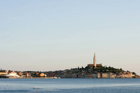 ROVINJ CROATIA  JULY 25 : A view of the old city core with the Saint Euphemia church and bell tower on July 25th 2009 in Rovinj Croatia.