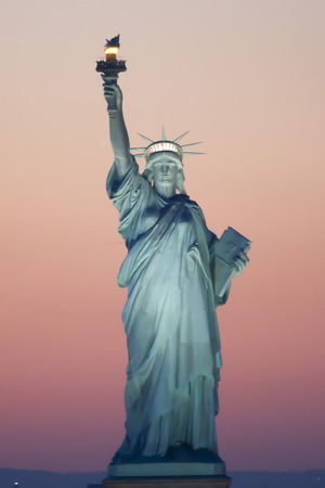 statue: The Statue of Liberty at sunset in New York City, USA.