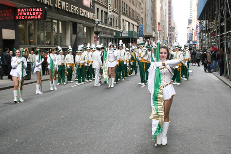 march 17th: NEW YORK CITY, USA - MARCH 17 : The majorettes performing in the street on Saint Patricks Day Parade on March 17th, 2005 in New York City, USA.