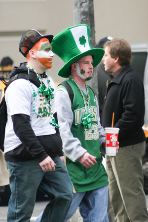 march 17: NEW YORK CITY, USA - MARCH 17 : Two young men in the street dressed in irish costumes and participating the Saint Patricks Day Parade on March 17th, 2005 in New York City, USA. Editorial